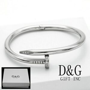 Image Is Loading Dg Stainless Steel Silver 7 034 Nail Bangle