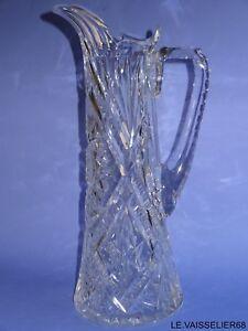 1 Ancien Pichet Pitcher Aiguiere En Cristal Taille De Baccarat Debut 20 Eme 100% D'Origine