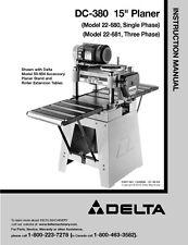 "Delta 22-680 22-681 DC-380 15"" Planer Instruction Manual"