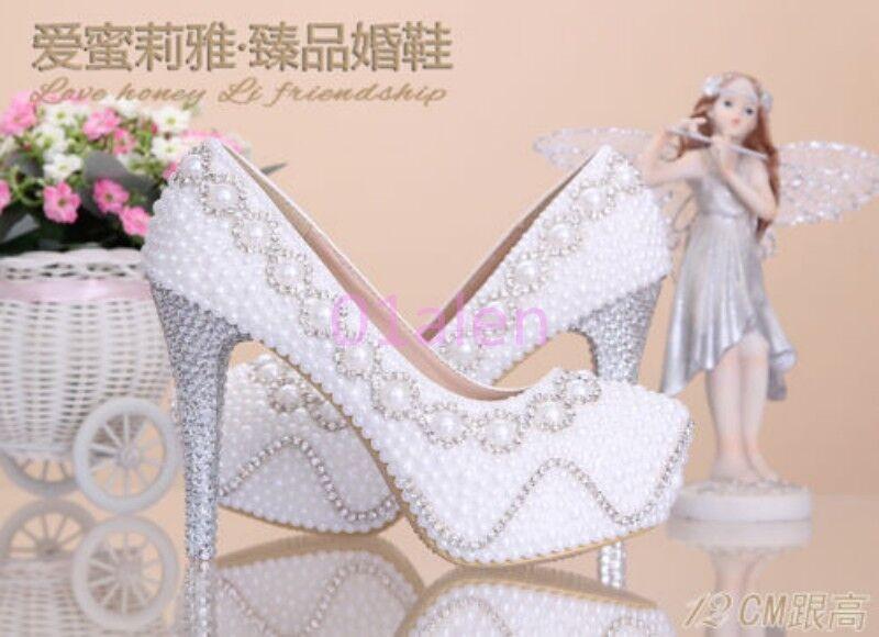 2016 Womens Super High Heel Pearls Rhinestone Bridal Princess Wedding shoes Pump