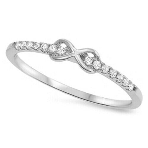 Infinity Ring Genuine sterling silver 925 cadeau Clair Zircone Cubique face Hauteur 3 mm taille 2