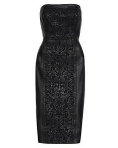 c8bc8a8667c9 Image is loading White-House-Black-Market-Strapless-Leather-Applique-Sheath-