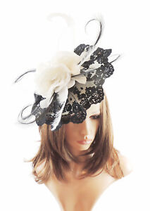 Image Is Loading Black Cream Fascinator Hat For Weddings Ascot Proms