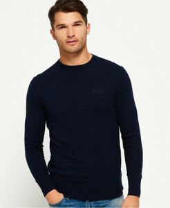 New Mens Superdry Orange Label Crew Jumper Eclipse Navy