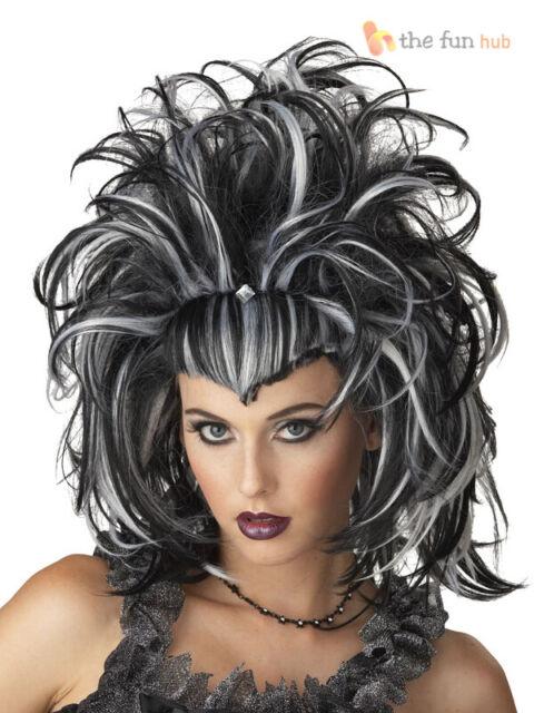 Evil Lady Cruella Black /& White Quality Wig For Fancy Dress