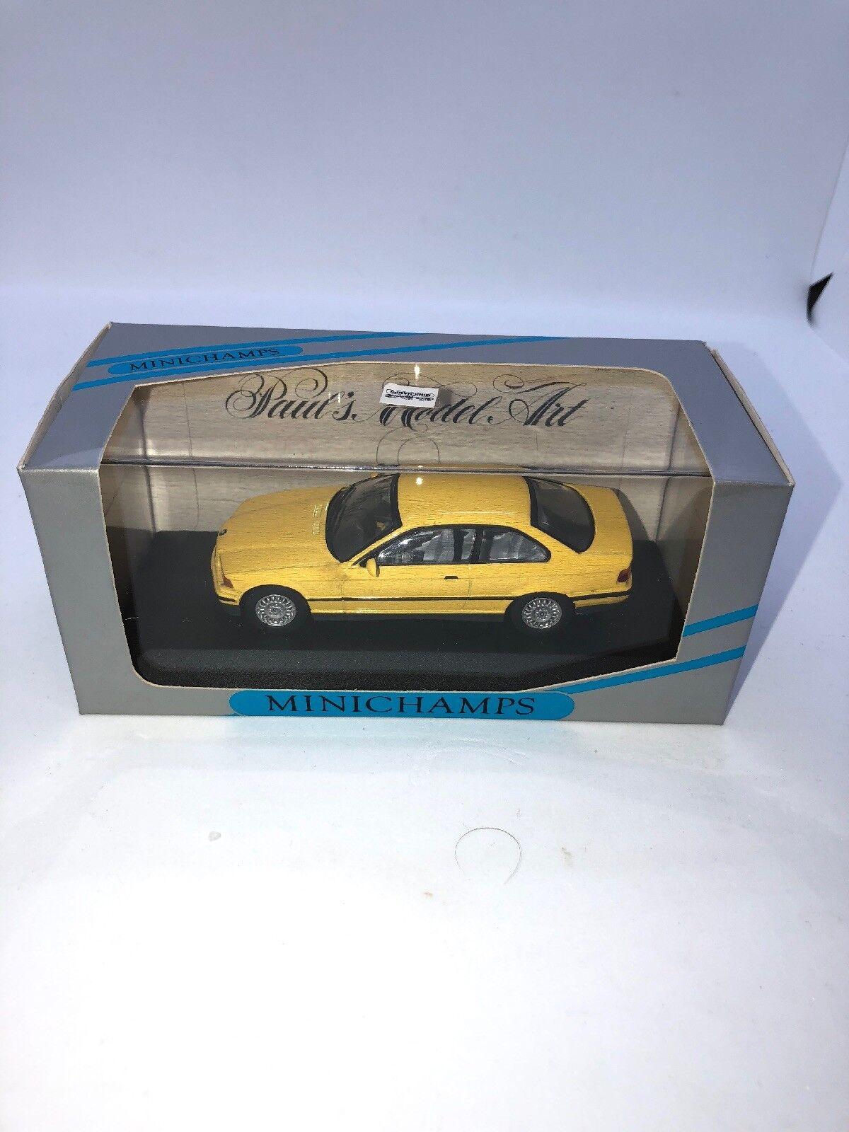 1 43 Minichamps BMW serie 3 Coupé amarillo Paul's Modelo Arte Nuevo En Caja 430 023321