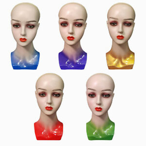 Mannequin Head with Female Face Bald Stand for Wigs Styling for Display Hats