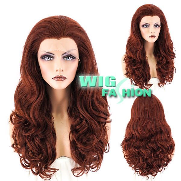 "24"" Heat Resistant Long Curly Light Reddish Brown Lace Front Hair Wig"