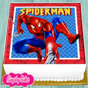 PRECUT-EDIBLE-ICING-7-5-INCH-SPIDERMAN-BIRTHDAY-SQUARE-CAKE-TOPPER-NS0530