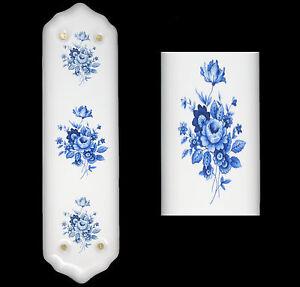 Image is loading White-Porcelain-Ceramic-Door-Finger-Push-Plates-Blue-  sc 1 st  eBay & White Porcelain Ceramic Door Finger Push Plates Blue Saxony Floral ...