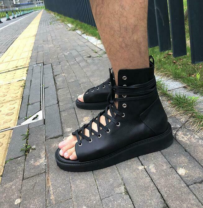 Roman Men Real Leather Platform Lace up Beach Chukka Gladiator Sandals shoes Hot