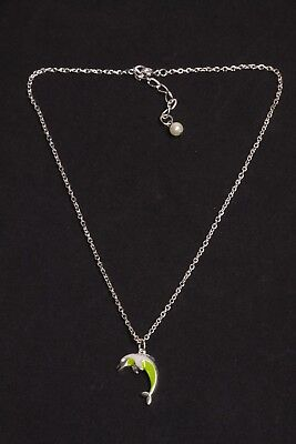 Dolphin Small Charm Silver Effect Pendant /& Black Waxed Cord Necklace 44cm