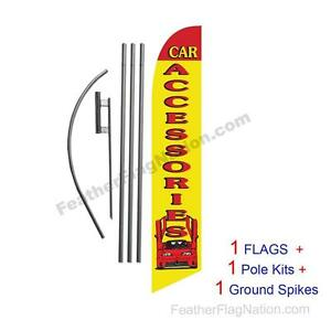 Car Accessories 15' Feather Banner Swooper Flag Kit with pole+spike