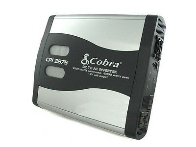 COBRA CPI2575 5000 Watt Peak LED Function DC TO AC Power Inverter USB/3 Outlets