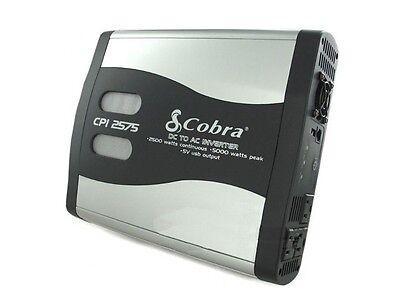 COBRA CPI2575 5000 Watt Peak LED Function DC TO AC Power Inverter USB/3 Outlets