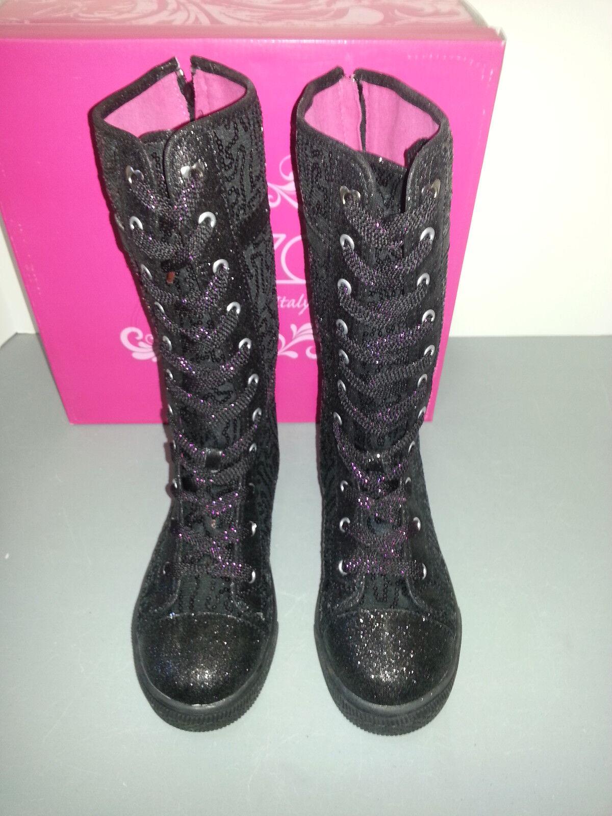 Enzo Angiolini Lentejuelas Negro lace/buckle Up Zapatillas 3 Botas Para Mujer De 3 Zapatillas Chicas 946216