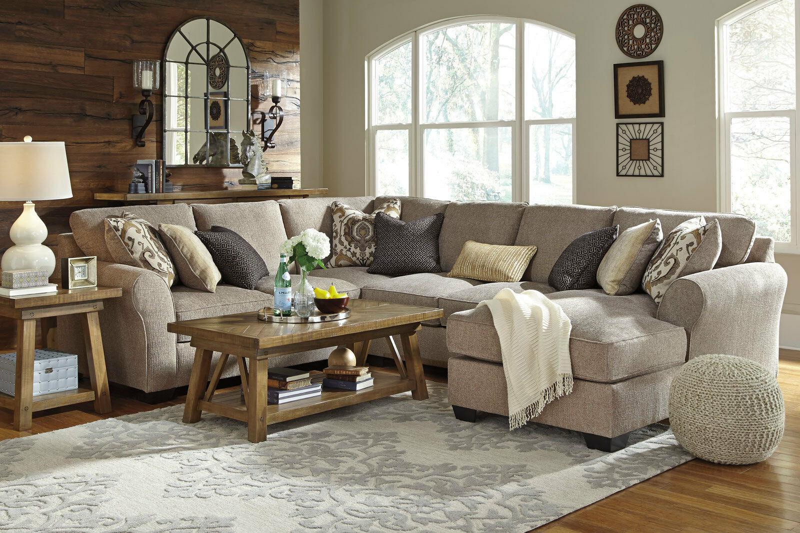 Modern Sectional Couch Living Room Set 4pcs Gray Microfiber Sofa Chaise Ig3b