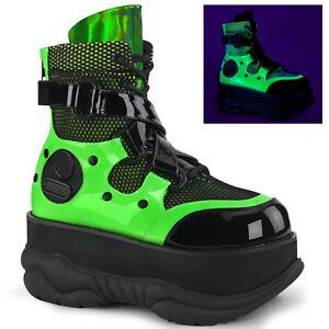 Demonia NEPTUNE-126 Men's Punk Rave Techno Moon Platform Lace-Up Ankle Boots
