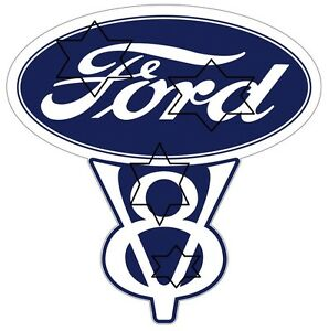 VINTAGE-FORD-V8-DECAL-STICKER-LABEL-9-INCH-DIA-230-MM-HOT-ROD
