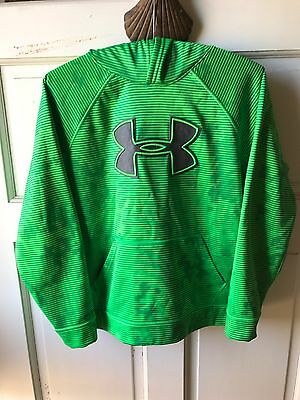 NWOT Under Armour Hooded Sweatshirt YLG Neon Green Stripe Gray Logo And Inside H