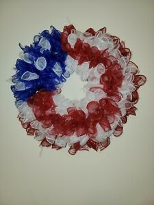 RED BLUE WHITE Deco Mesh Door Wreath Decor 4th of July AMERICAN FLAG Patriotic