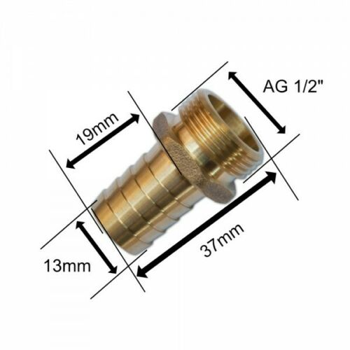 Schlauchanschluss Schlauchtülle Schlauchnippel AG 1//2/' Messing Bradas 3349