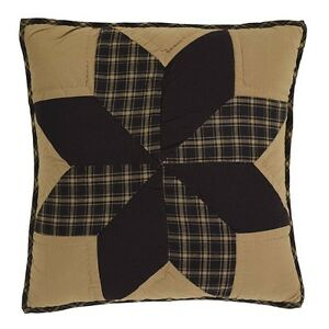 DAKOTA-STAR-Quilted-Pillow-Black-Khaki-Country-Primitive-Rustic-16-034-x-16-034