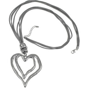 Lagenlook-Large-chunky-double-heart-silver-pendant-CZ-grey-suede-long-necklace