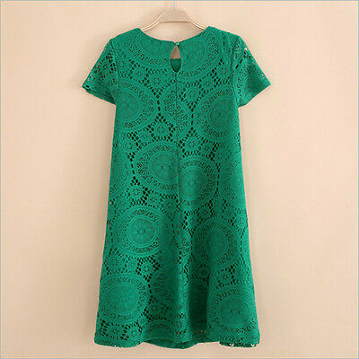 Sexy Women Casual Lace Floral Dress Short Sleeve Loose Dress Party Mini Dress