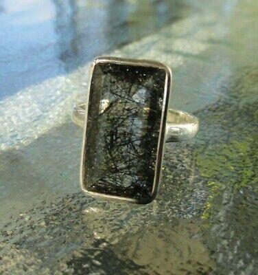 Rutileted Quartz Gemstone Ring rutile Ring Solid sterling silver Ring,Rutile Gemstone ring,mens ring, R-460 black rutile ring US size-8