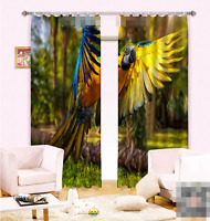 3d Parrot Tree2 Blockout Photo Curtain Printing Curtains Drapes Fabric Window Au
