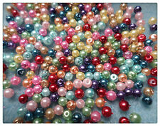 300 x Glass Pearl Beads - 3mm - Mixed Colour