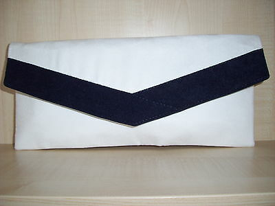 c51f0e1104 WHITE & NAVY BLUE faux leather envelope clutch bag, fully lined UK ...