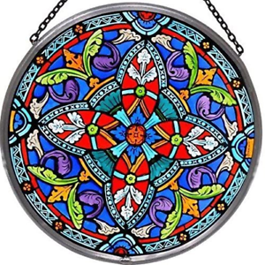 Decorative Hand Painted Stained Glass Window Sun Catcher/Roundel in an Ornate