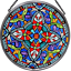 thumbnail 1 - Decorative Hand Painted Stained Glass Window Sun Catcher/Roundel in an Ornate