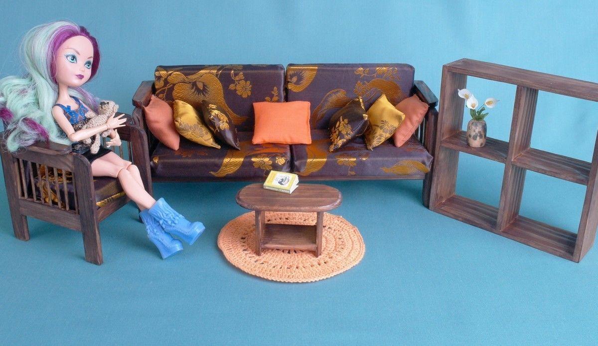 Juego De Sala Casa De Muñecas Muebles De Madera Escala 1 6 Muñecas Para Barbie EAH YOSD