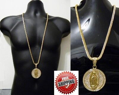 Hip Hop Necklace Virgin Mary Jesus Circle Pendant Crystal Figaro Chain