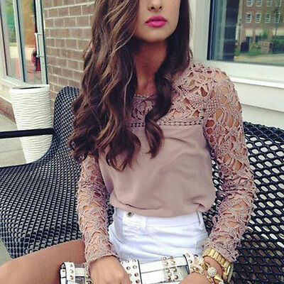 Women Lace Crochet Tops Embroidered Long Sleeve Shirt Casual Blouse