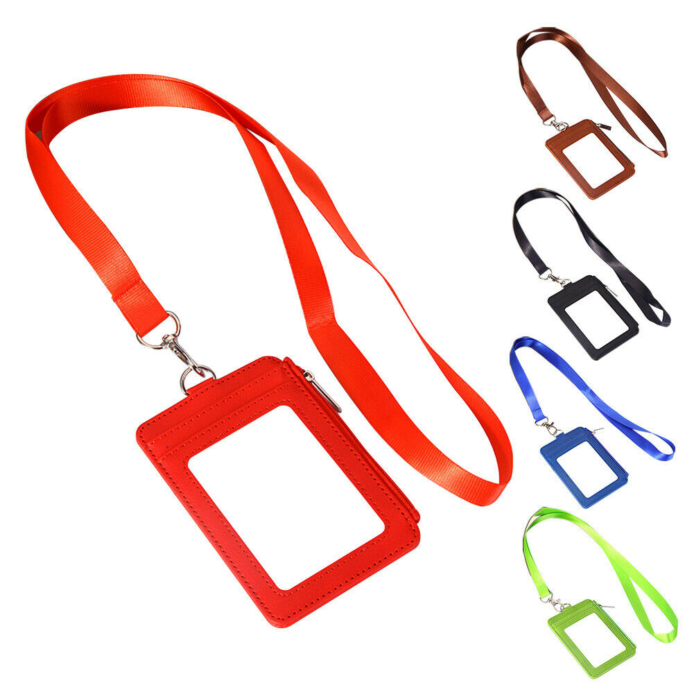 Clear Retractable Lanyard Neck Strap Multi Slot PU Leather Coins ID Badge Holder