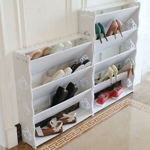 Superb Image Is Loading White Carve 3 4 Tier Tilt Shoe Cabinet