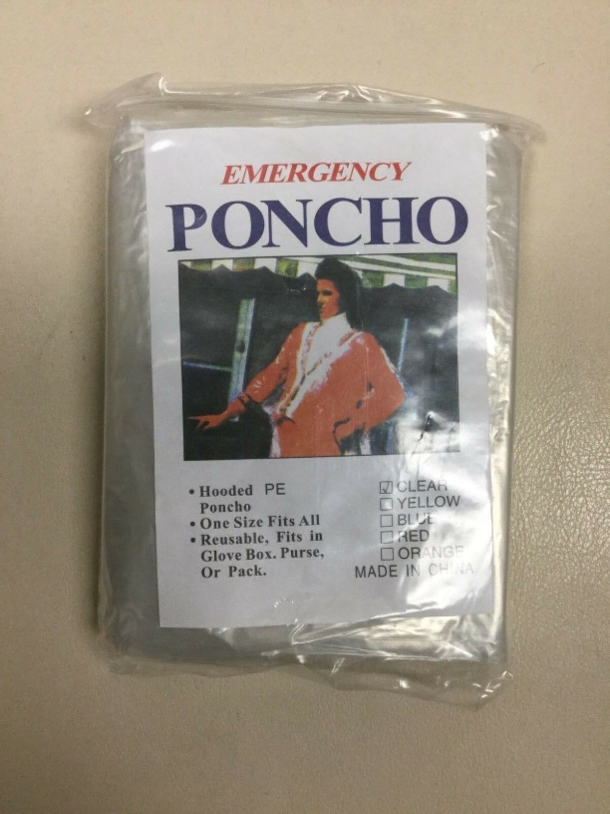 Emergency Poncho Hooded Compact One Size Fits All Clear Reusable Lot Free Ship