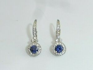 Ladies-Art-Deco-Design-Sterling-925-Silver-Tanzanite-and-White-Sapphire-Earrings