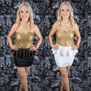 Gold-Sequin-Stretch-Mini-Bodycon-Peplum-Strapless-Evening-Prom-Ball-Party-Dress