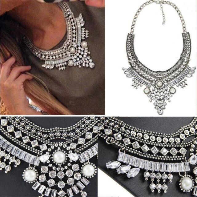 Women Pendant Chain Crystal Choker Chunky Bib Statement Necklace Vintage Jewelry
