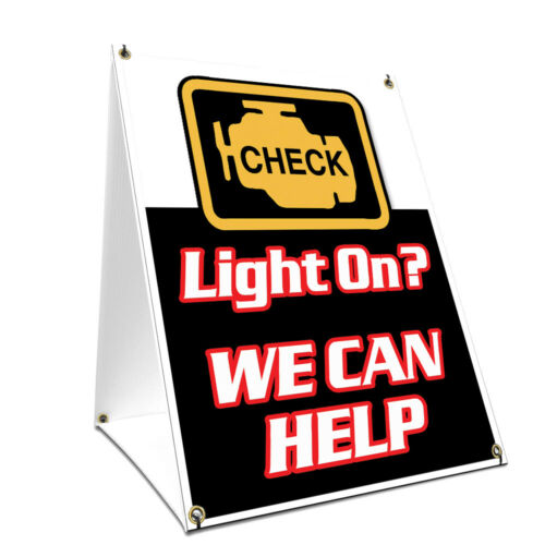 A-frame Sidewalk Sign Check Engine Light With Graphics On Each Side