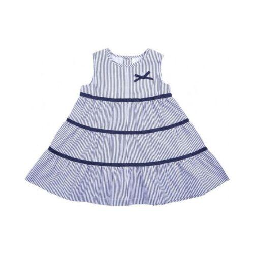 EPK Baby Girl White Navy Blue Horizontal Stripes Dress Sleevless 3M 6M 12M 18M