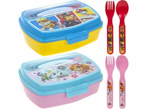 Kids PAW PATROL LUNCH BOX CUTLERY SET School Sandwich Birthday Toy Gift NEW UK