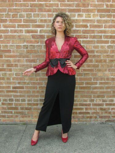 VINTAGE 80 TRAVILLA Neiman Marcus Gown Red Sequin