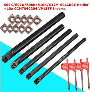 6mm-7mm-8mm-10mm-12mm-SCLCR06-Bohrstange-Drehmeissel-10x-CCMT060204-Wendeplatten