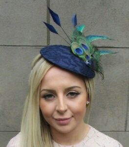 Large Navy Blue Green Peacock Feather Hat Fascinator Headband Races ... 9789d574f27